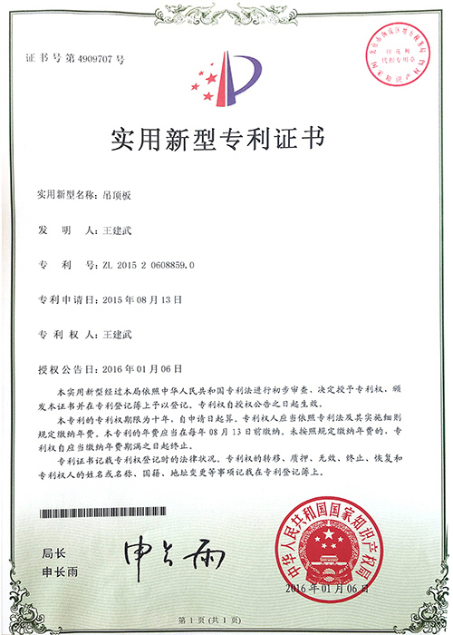 New patent certificate